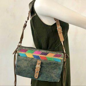 Lucky Brand Denim & Leather Boho Mini Shoulder Bag